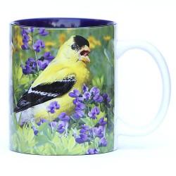 Summer male goldfinches with wild indigo